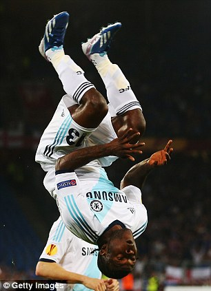 Vicitor Moses Celebrates Scoring For Chelsea in the Europa Cup.