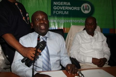Dr. ASISHANA OKAURU & GOV. ROTIMI AMAECHI DURING THE DISPUTED MAY 24 NGF CHAIRMANSHIP ELECTION