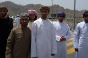 Hilal Al Alawi (centre) with relatives after his release from maximum security Samayil prison.
