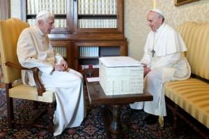 Pope Francis with Pope Benedict XVI