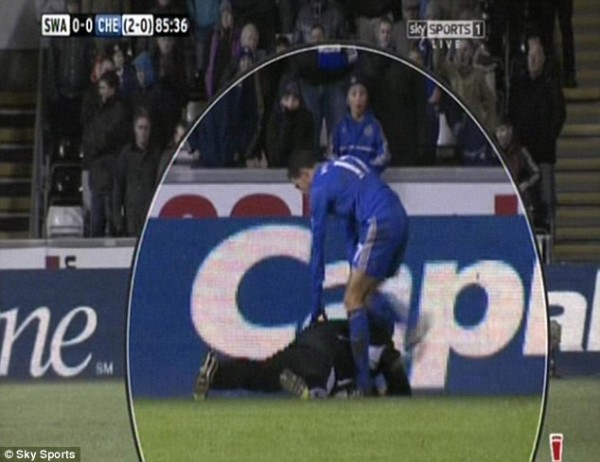 After the Incident Hazard Claimed he Kicked the Ball and Not the Man.