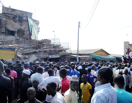 SYMPATHIZERS AT THE SITE OF A  COLLAPSED TWO STORY BUILDING ON HADEJA ROAD IN KADUNA ON THURSDAY