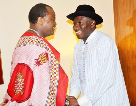 PRESIDENT GOODLUCK JONATHAN (R) MEETING WITH THE KING OF SWAZILAND HIS MAJESTY, KING MSWATI (III) IN ABUJA ON SUNDAY NIGHT