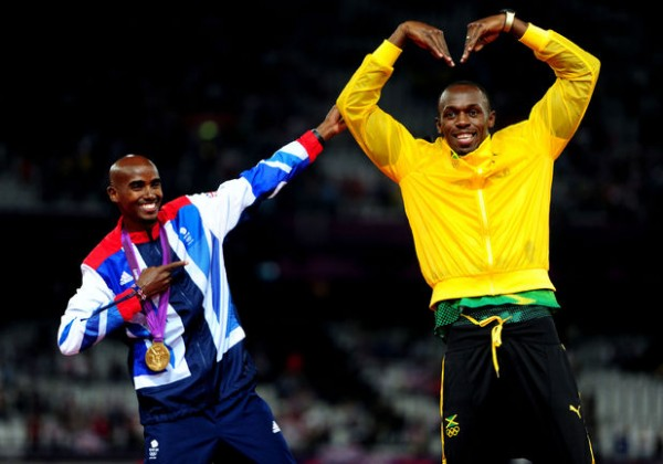 Mo Farah and Bolt Trade Poses in the Celebration of Their Various Successes at the London Olympic.