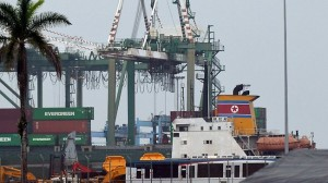 A North Korean vessel at the Manzanillo Port in Colon, Panama