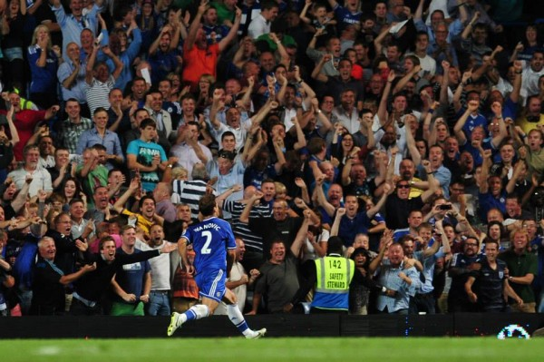 Ivanovic Runs to the Stands After Scoring.