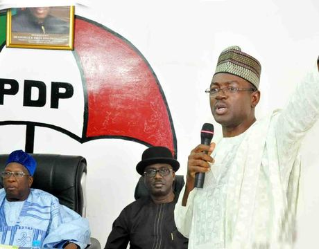 PDP NATIONAL CHAIRMAN,DR BAMANGA TUKUR; ACTING DEPUTY NATIONAL CHAIRMAN, CHIBUDUM NWUCHE AND MINISTER OF INFORMATION, MR LABARAN MAKU, DURING THE MINISTER'S PRESENTATION OF MID-TERM REPORT TO THE NATIONAL WORKING COMMITTEE OF THE PARTY IN ABUJA ON TUESDAY (NAN)