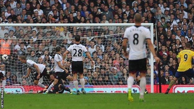 Podolski's Second Goal Against Fulham at Craven Cottage.