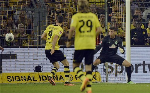 Robert Lewandowski Scores For Dortmund, Having Committed His Future to the Side For One More Season.