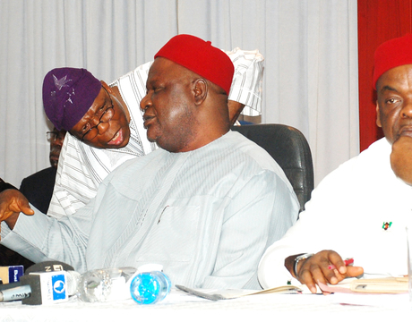 FROM LEFT: MINISTER OF EDUCATION, PROF. RUQAYYATU RUFA'I; EXECUTIVE SECRETARY, NATIONAL UNIVERSITIES COMMISSION (NUC), PROF. JULIUS OKOJIE; SECRETARY TO THE GOVERNMENT OF THE FEDERATION (SGF), SEN. ANYIM PIUS ANYIM AND MINISTER OF LABOUR, CHIEF CHUKWUEMEKA NWOGU, AT THE MEETING OF THE SGF WITH PRO-CHANCELLORS AND VICE CHANCELLORS OF PUBLIC UNIVERSITIES IN ABUJA OF FRIDAY