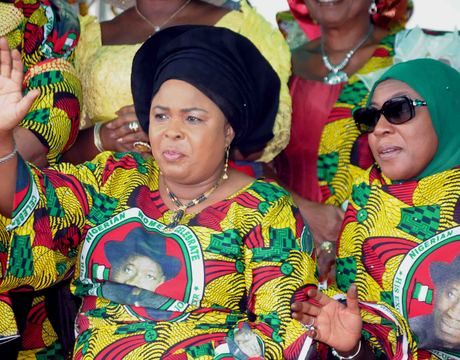 FIRST LADY, DAME PATIENCE JONATHAN (L), AND WIFE OF THE VICE-PRESIDENT, HAJIYA AMINA SAMBO AT THE CELEBRATION OF NIGERIAN WOMEN FOR PEACE AND EMPOWERMENT RALLY IN ABUJA ON THURSDAY