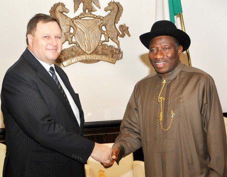 PRESIDENT GOOLUCK JONATHAN (R), BIDDING FAREWELL TO THE OUTGOING AMBASSADOR OF CZECH REPUBLIC TO NIGERIA, MR JAROSLAV SIRO, DURING HIS VISIT TO THE PRESIDENTIAL VILLA IN ABUJA ON THURSDAY