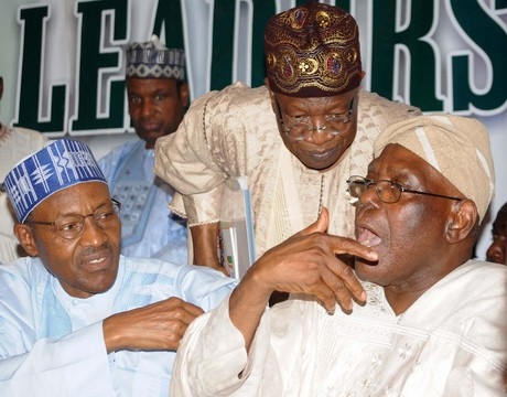 FROM LEFT: FORMER HEAD OF STATE, GEN. MUHAMMADU BUHARI; INTERIM NATIONAL PUBLICITY SECRETARY, ALL PROFRESSIVES CONGRESS (APC), ALHAJI LAI MOHAMMED AND INTERIM NATIONAL CHAIRMAN, CHIEF BISI AKANDE, AT AN APC LEADERS MEETING IN ABUJA