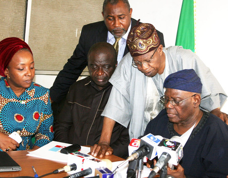 FROM LEFT: NATIONAL WOMEN LEADER, ALL PROGRESSIVES CONGRESS (APC), SHARON IKEAZOR; DEPUTY NATIONAL CHAIRMAN (SOUTH) SEN. ANNE OKONKWO; DEPUTY NATIONAL LEGAL ADVISER, JAMES OCHOLI; NATIONAL PUBLICITY SECRETARY, LAI MOHAMMED AND NATIONAL CHAIRMAN, CHIEF BISI AKANDE, AT A NEWS CONFERENCE ON THE REGISTRATION OF THE PARTY IN ABUJA IN AUGUST