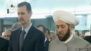 Bashar al-Assad during Eid prayers