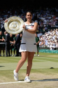 Marion Bartoli and the Venus Rosewater Dish at Centre Court.