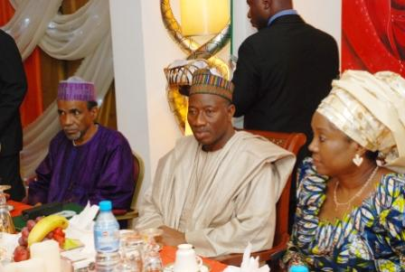 PRESIDENT GOODLUCK JONATHAN FLANK BY THE MINISTER OF STATE FOREIGN AFFAIRS 1, PROF. (MRS) VIOLA ONWULIRI, RIGHT AND THE CAMEROONIAN AMBASSADOR TO NIGERIA AMBASSADOR. SALAMEDDDINE ABBAS IBRAHIMA DURING THE BREAK OF RAMADAN FASTING WITH THE PRESIDENT AT THE STATE HOUSE ABUJA