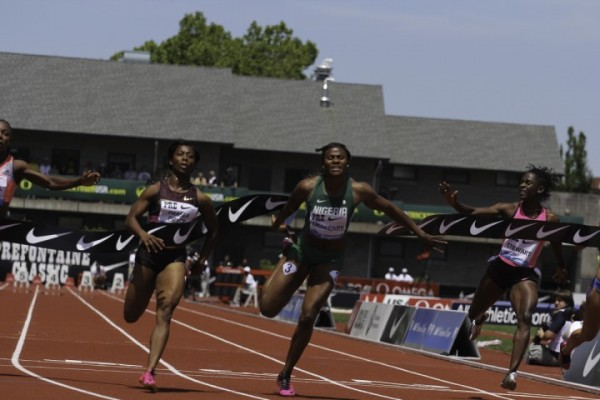 Okagbare at the Prefontaine Classic, Finished Behind Fraser-Pryce Over 100m But Came Sixth in Moscow.