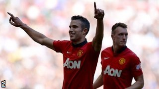 Van Persei Celebrates Second Goal in Sunday's Community Shield.