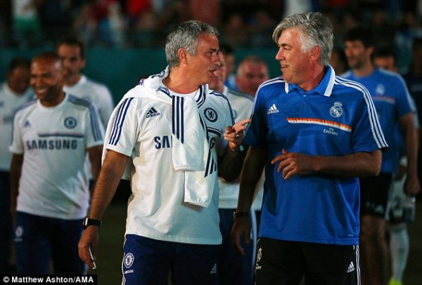 Jose Mourinho and His Real Madrid Successor Carlo Ancelotti After the Match.