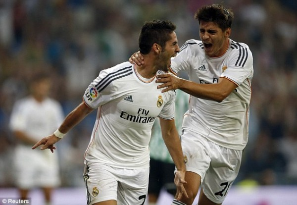 Debutante Isco Celebrates Scoring the Winner at the Bernabeu.