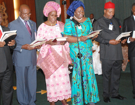 MEMBERS OF THE NATIONAL ASSEMBLY SERVICE COMMISSION TAKING THEIR OATH OF OFFICE BEFORE PRESIDENT GOODLUCK JONATHAN DURING THEIR INAUGURATION IN ABUJA ON WEDNESDAY
