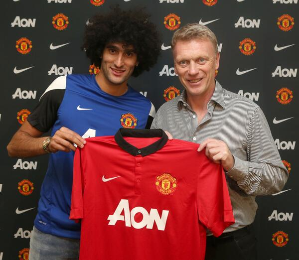 David Moyes and Marouane Fellaini After Signing the £27.5m Deal.