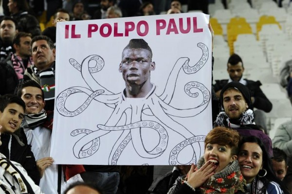 A Section of Juventus Fans at the Derby D'Italia With a Paul Pogba the Octopus Banner.