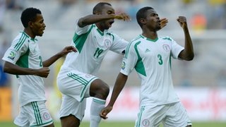 Echiejile Celebrates With Mba and Oduamadi After His Shot Was deflected Into Tahiti's Goal at the Confederations Cup.