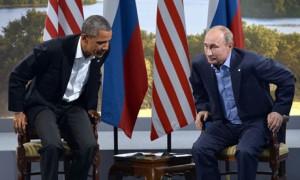 Obama and Putin at the G8 summit.