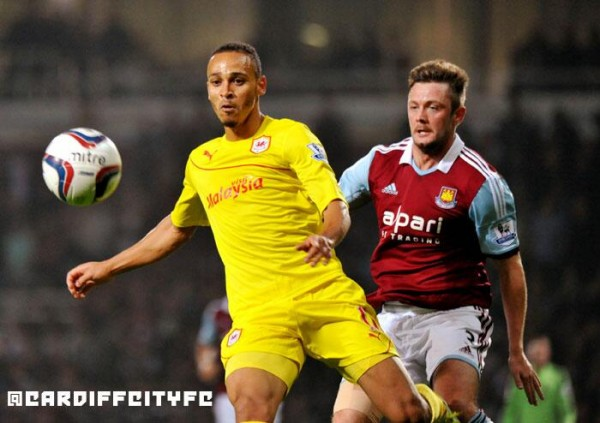 West Ham 3 Cardiff City 2: Osaze Odemwingie Equalised for Cardiff 15 Minutes From Full Time.