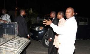 Gov. Amaechi complaining  after police denied him entry