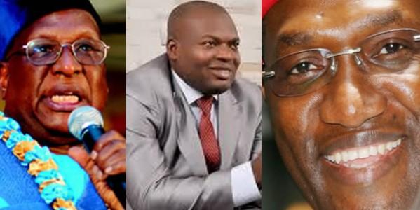 L-R: PDP NATIONAL CHAIRMAN, BAMANGA TUKUR; PDP ASPIRANTS, TONY NWOYE & SENATOR ANDY UBA