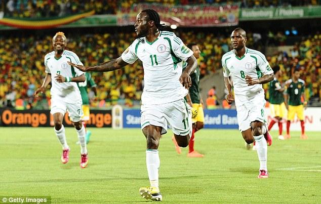 Victor Moses celebrates Scoring For Nigeria.