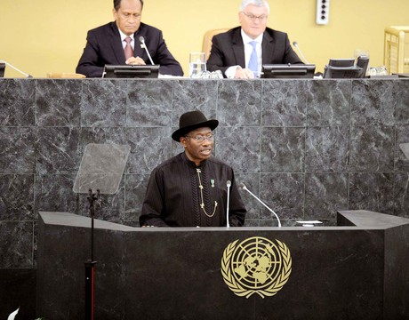 PRESIDENT GOODLUCK JONATHAN ADDRESSING THE 68TH SESSION OF THE UNITED NATIONS GENERAL ASSEMBLY IN NEW YORK ON TUESDAY (24/9/13)