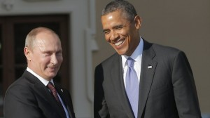 Russia's President Vladimir Putin, left, shakes hands with US President Barack Obama during arrivals for the G-20 summit at the Konstantin Palace in St. Petersburg, Russia.