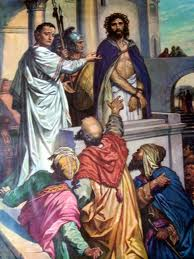 Pilate hearing the case of Jesus