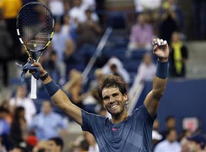 Rafael Nadal Celebrates His Victory Over Compatriot Tommy Robredo.
