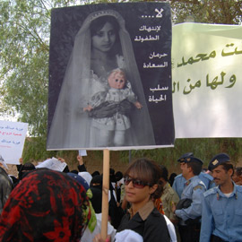 file image: protest against child marriage in Yemen