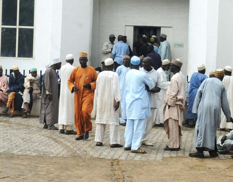 ENSIONERS WAITING TO COLLECT THEIR PENSION  FOR  EID-EL-KABIR CELEBRATION AT A BANK  IN BAUCHI ON MONDAY (NAN)
