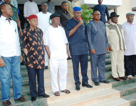 FROM LEFT: GOVERNORS SULLIVAN CHIME OF ENUGU STATE; THEODORE ORJI OF ABIA; EMMANUEL UDUAGHAN OF DELTA; LIYEL IMOKE OF CROSS RIVER; PETER OBI OF ANAMBRA; DEPUTIES JOHN GBORIBIOGHA OF BAYELSA AND DAVID UMAHI OF EBONYI AT THE  SOUTH-EAST, SOUTH-SOUTH, GOVERNORS MEETING IN ENUGU ON SUNDAY