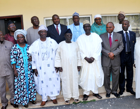GOV. JONAH JANG (M) WITH MEMBERS OF PRESIDENTIAL ADVISORY COMMITTEE ON NATIONAL DIALOGUE, DURING THEIR COURTESY VISIT TO THE GOVERNOR IN JOS ON MONDAY