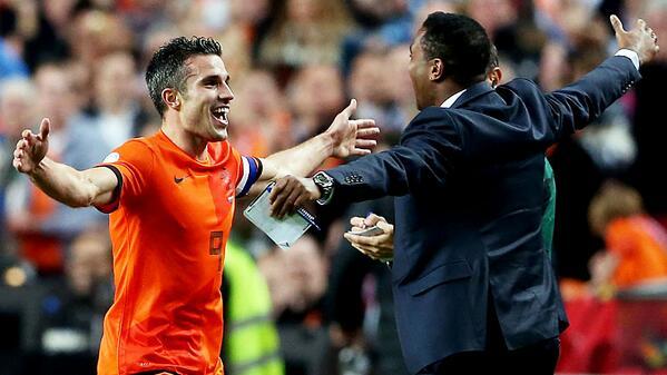 Van Persie Celebrates With Patrick Kluivert.