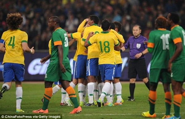 La Selacao Celebrates Goal.
