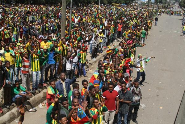 A Rowdy Session of Ethiopia Fans Gathered on the Street to Cheer Their Team.