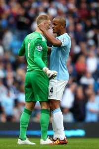 Vincent Kompany Charges On Joe Hart Before Game.