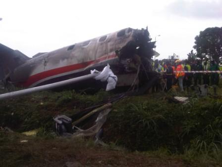 WRECKAGE OF THE ASSOCIATED AIRLINES AIRCRAFT THAT CRASHED ON THURSDAY MORNING