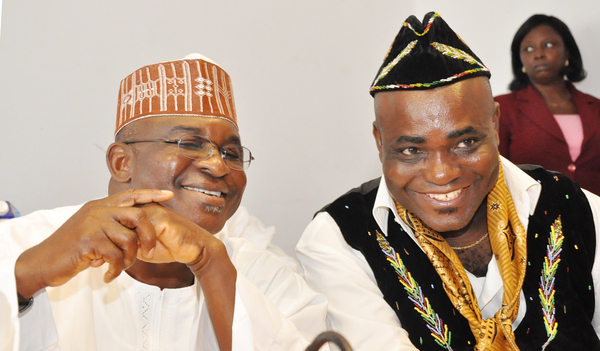 SENATE PRESIDENT DAVID MARK (L) WITH CHAIRMAN, SENATE COMMITTEE ON RULES AND BUSINESS, SEN. ITA ENANG, AT THE INAUGURATION OF THE COMMITTEE BY THE SENATE PRESIDENT IN 2011 (NAN)