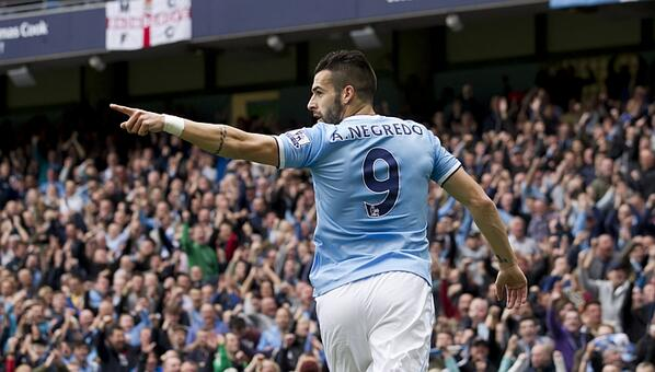Alvaro Negredo Celebrates His Leveler Against Everton.