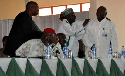 MEMBERS OF THE PRESIDENTIAL ADVISORY COMMITTEE ON NATIONAL DIALOGUE TRYING TO CALM COL. TONY NYIAM (RTD) DOWN ON MONDAY IN BENIN CITY